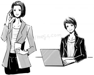 オリジナル オフィスで仕事する女性のカット