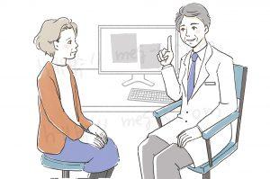 医療系サンプルイラスト、診察する医師と患者の女性